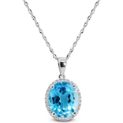 """メイシーズ Macy's レディース ネックレス Blue Topaz (3-3/4 ct. t.w.) & Diamond (1/10 ct. t.w.) 18"""" Pendant Necklace White Gold"""