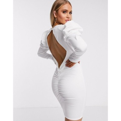 フロンスロンドン レディース ワンピース トップス Flounce London volume sleeve mini dress with cut out back in white White