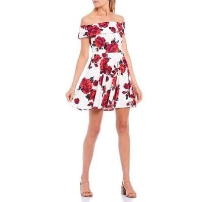 ビーダーリン レディース ワンピース トップス Cuffed Off-the-Shoulder Floral Print Skater Dress
