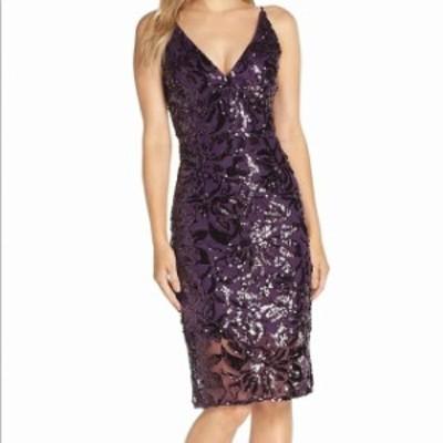 Eliza J エリザジェイ ファッション ドレス Eliza J Womens Purple Size 14 Sequin Mesh V-Neck Tulle Sheath Dress