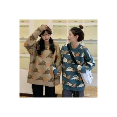 【送料無料】秋と冬 韓国風 ルース オーバーサイズ ジャカール 丸襟 何でも似合う 長袖   364331_A63931-2514089