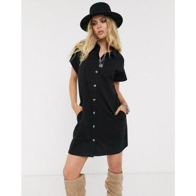 エイソス ASOS DESIGN レディース ワンピース シャツワンピース ワンピース・ドレス cotton slubby shirt dress in longer length in black ブラック