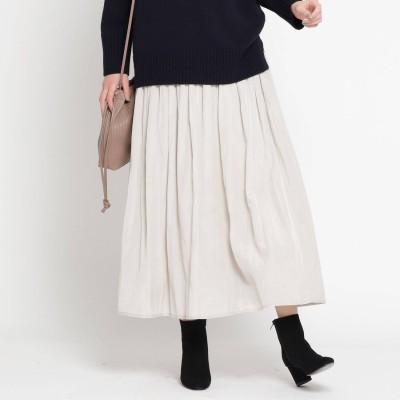 デッサン Dessin 【XS~L・ウエストゴム】サテンギャザースカート<揺れるたび、美しい光沢感> (ライトグレー)