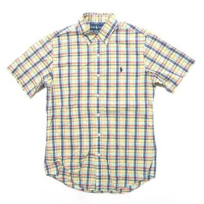 ポロラルフローレン ワンポイントロゴ ボタンダウン 半袖シャツ チェック サイズ表記:L