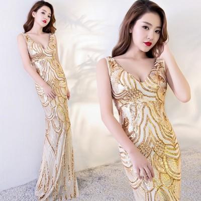 ロングドレス 豪華なドレス カラードレス パーティードレス ウエディングドレス 演奏会ドレス  二次会ドレス お呼ばれ ピアノ 発表会 結婚式[ゴールド]
