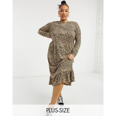 デイジーストリート ドレス 大きいサイズ レディース Daisy Street Plus midaxi smock dress in leopard print エイソス ASOS ブラウン 茶