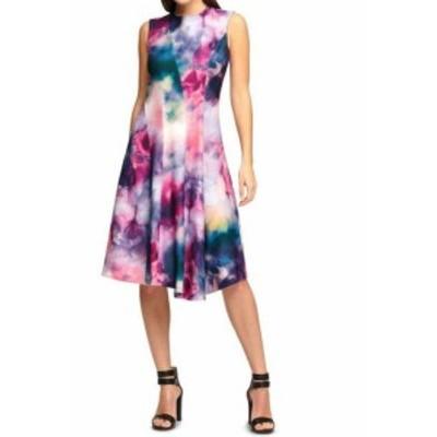 Calvin Klein カルバンクライン ファッション ドレス Calvin Klein Womens Purple Size 4 Watercolor Print A-Line Sheath Dress