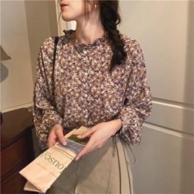 ブラウス レディース 春秋 きれいめ長袖 きくらげの襟 設計感 花柄 シャツ 復古調 ブラウス韓国chic 上品 シャツ Tシャツトップス 可愛い