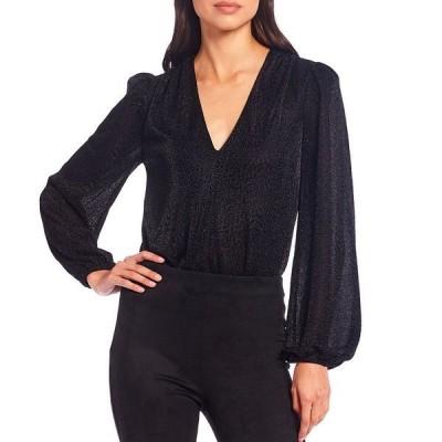 ジアーニビニ レディース Tシャツ トップス Whitney V-Neck Long Balloon Sleeve Shimmer Bodysuit Black