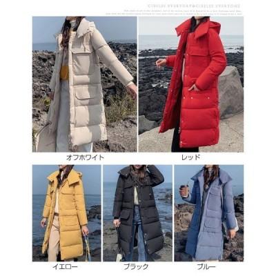 コート レディース 中綿 ロング丈 冬 新作  中綿ジャケット  厚手 フード付き アウター 大きいサイズ