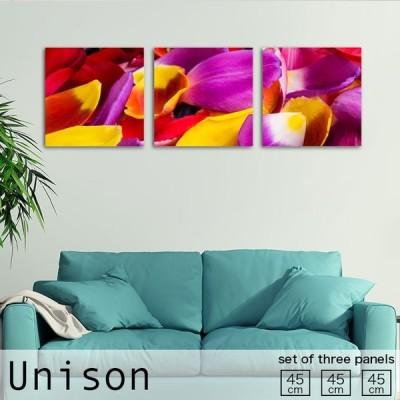 アートパネル 花びら カラフル かわいい 植物 花 母の日 紫 黄 赤 人気 ファブリックパネル  おしゃれ 壁掛け 絵 生地 モダン 3連セット 作る インテリア 人気