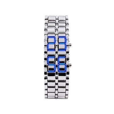クラシック メンズ バイナリ スクエア ブルー LED デジタル 防水 腕時計 ブラックメッキ 腕時計 シルバー/ブルー[並行輸入品]
