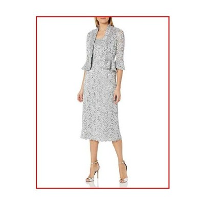 【新品】R&M Richards Women's Two Piece Lace Long Jacket Dress Missy, ?Silver, 14【並行輸入品】