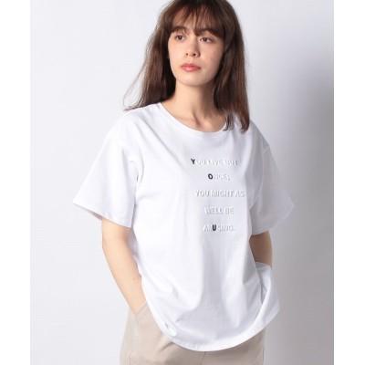 【インタープラネット】 強撚コットンエンボスプリントTシャツ レディース オフホワイト 002 INTERPLANET