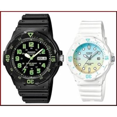 CASIO【カシオ/スタンダード】アナログクォーツ ペアウォッチ 腕時計 ラバー ブラック/ホワイト 海外モデル MRW-200H-3B/LRW-200H-2E2(