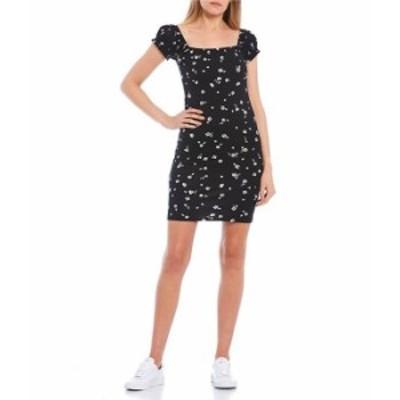 ビラボン レディース ワンピース トップス Short-Puff-Sleeve Square-Neck Girl Crush Mini Dress Black
