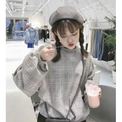 韓国 ファッション レディース トップス スウェット プルオーバー チェック柄 ボリューム袖 ゆったり 長袖 ガーリー カジュアル