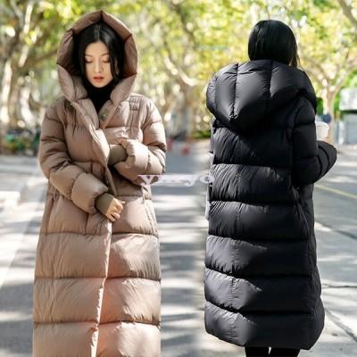グースダウンコート ジャケットコート レディース トップス フード付き ロング丈 無地 ポケット おしゃれ シンプル 防寒 軽量 撥水 暖かい 厚手