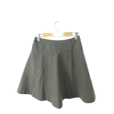 ナチュラルビューティーベーシック NATURAL BEAUTY BASIC スカート フレア ミニ ジップフライ ウール XS 灰色 グレー /TK31 レディース【中古】