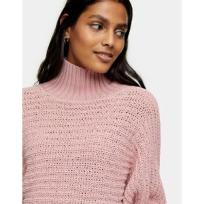 トップショップ レディース シャツ トップス Topshop funnel neck chenille crop sweater in pink Pnk