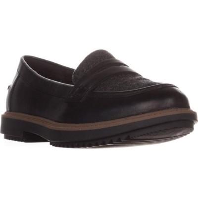 レディース 靴 コンフォートシューズ Womens Clarks Raisie Eletta Comfort Penny Loafers Black Tweed Combi