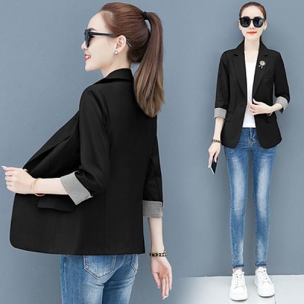 西裝外套女裝M-3XL七分袖西裝外套女薄款夏季休閑氣質短款時尚洋氣修身韓版西服上衣T153韓衣裳