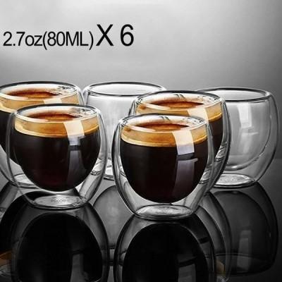 二重 グラス 80ml 6個セット コーヒー エスプレッソ ティーカップ