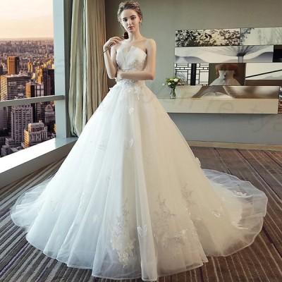 ウェディングドレス 結婚式 二次会 ホワイト 花嫁 プリンセスドレス 白ドレス ロングドレス 披露宴 編み上げ トレーンライン