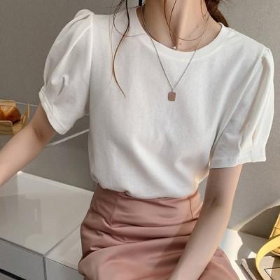 トップス Tシャツ レディース 30代 40代 カットソー 半袖 M /L /XL 大きいサイズパフスリーブ バルーン袖 プルオーバー 大人 可愛い ゆったり 綿混 コットン