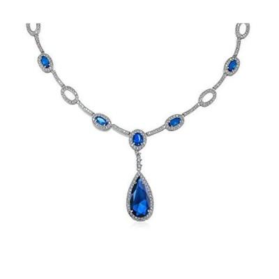 オーバルファッションブルーシミュレートサファイアAAA CZ梨形状ステートメント女性のための大きなティアドロップYネックレス シルバーメッキブラス[並