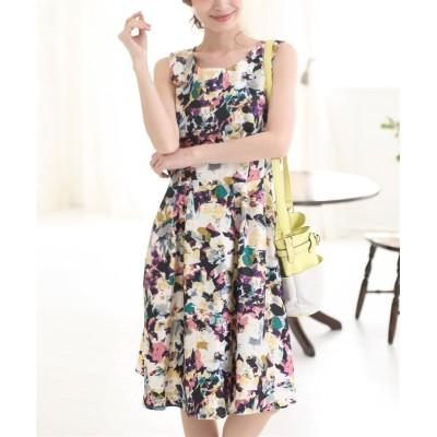 シャンタン素材モザイク花柄ワンピース (ワンピース)Dress
