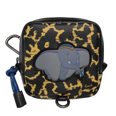 COACH x Disney黑色豹紋小飛象方型腰間掛式迷你包