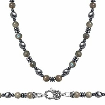 WESTMIAJW Mens Natural Labradorite Magnetic Hematite Beads Beaded Choker Necklace Healing Crystals Jewelry 45cm