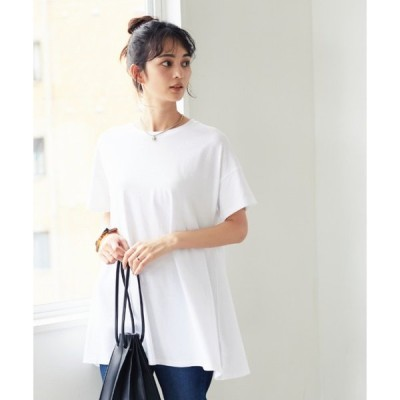 tシャツ Tシャツ クルーネックカットフレアチュニック1●