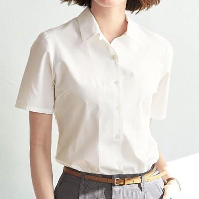 形態安定ハマカラーシャツ(半袖)(UVカット・抗菌防臭・洗濯機OK・部屋干しOK)/ホワイト/LT