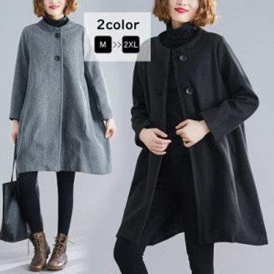コート ロングコート ロング丈 ノーカラー ジャケット アウター 羽織り 無地 ゆったり 体型カバー
