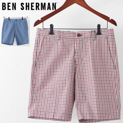 ベンシャーマン メンズ ハーフパンツ Ben Sherman ハウスギンガムチェック ドーンレッド ロイヤルブルー テーラード ショーツ 短パン チェック
