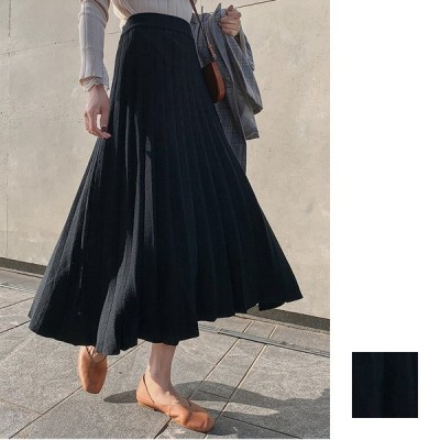 韓国 ファッション レディース スカート ボトムス 秋 冬 カジュアル プリーツ ニットスカート 着回し ベーシック naloH335 20代 30代 40代