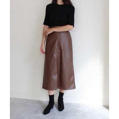 スカート フェイクレザースカート