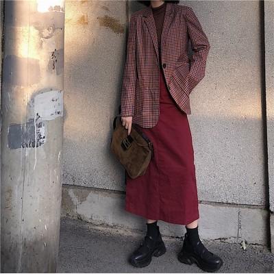 [55555SHOP]♡今日更新♡限定高品質❀【レディース セットアップ】秋冬 レトロ ハイウエスト スカート+チェック柄 ブレザーコート 上品 高品質 2枚セット 大人気