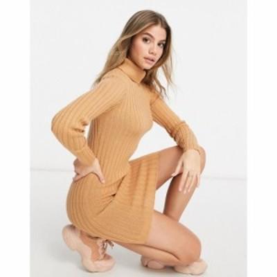 ブレイブソウル Brave Soul レディース ワンピース ワンピース・ドレス Amanda Roll Neck Jumper Dress In Rib In Camel