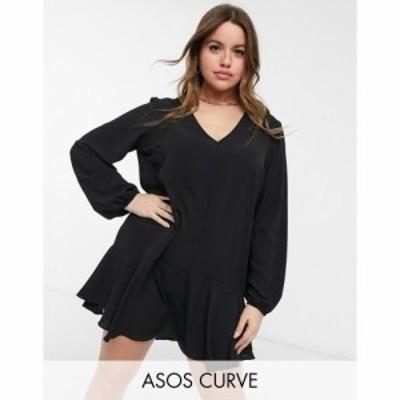エイソス ASOS Curve レディース ワンピース Vネック ミニ丈 ASOS DESIGN Curve long sleeve v neck mini dress with curved hem in blac