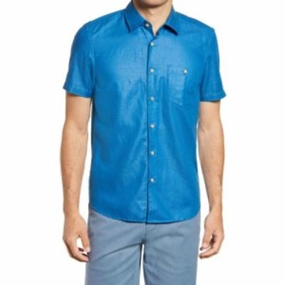 テッドベーカー TED BAKER LONDON メンズ シャツ トップス Civiche Linen and Cotton Button-Up Shirt Teal Blue