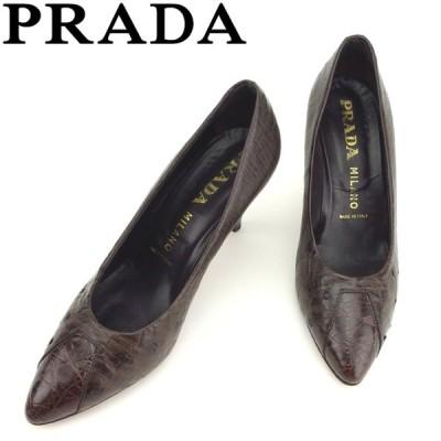プラダ PRADA パンプス シューズ 靴 レディース ♯39 ポインテッドトゥ オーストリッチ 中古 ブランド 人気 セール D1900