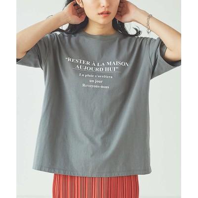 (abahouse mavie/アバハウスマヴィ)【販売店舗限定】 ロゴTシャツ/レディース チャコールグレー