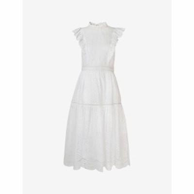 ホイッスルズ WHISTLES レディース ワンピース ワンピース・ドレス Ruffle-trimmed broderie-anglaise cotton dress WHITE