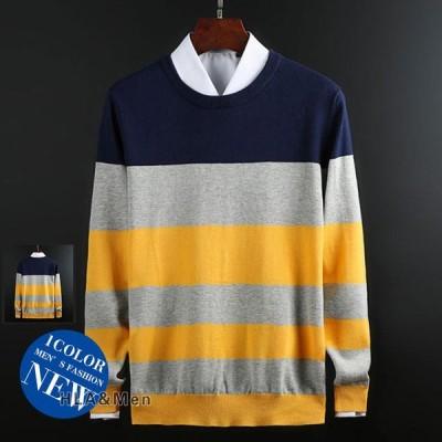 ニット メンズ 長袖セーター クルーネック ボーダー柄 ニットセーター ハイゲージ トップス おしゃれ