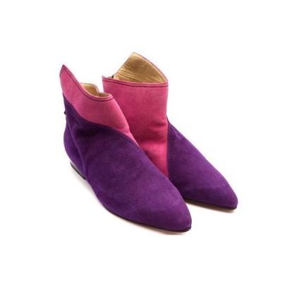 ジャンニ ヴェルサーチェ 34(約22cm) ヴィンテージ バイカラー ショートブーツ ブーティー スエード 紫 ピンク 極美 GIANNI VERSACE 2959i