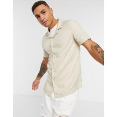 トップマン メンズ シャツ トップス Topman short sleeve revere shirt in stone Stone