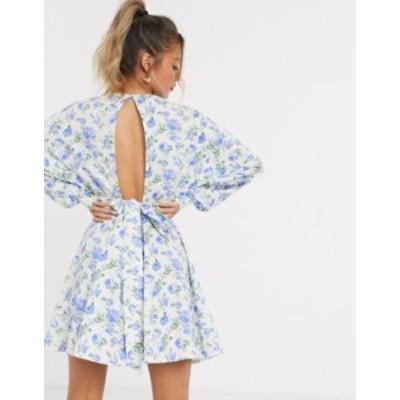 エイソス レディース ワンピース トップス ASOS DESIGN cotton poplin batwing mini skater dress with wrap around belt in floral prin